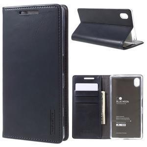 Moon PU kožené puzdro pre Sony Xperia Z5 - tmavomodré - 1