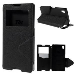 Diary puzdro s okienkom na Sony Xperia Z5 - čierne - 1