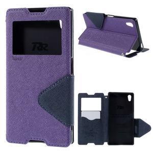 Diary puzdro s okienkom na Sony Xperia Z5 - fialové - 1