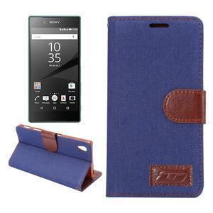 Jeans Peňaženkové puzdro Sony Xperia Z5 - tmavomodré - 1