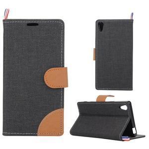 Cloth textilní/koženkové pouzdro na Sony Xperia Z5 - černé - 1
