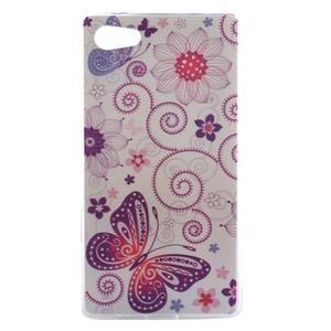 Gélový obal pre mobil Sony Xperia Z5 - kvetiny a motýľ - 1