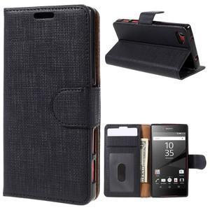Grid Peňaženkové puzdro pre mobil Sony Xperia Z5 Compact - čierne - 1
