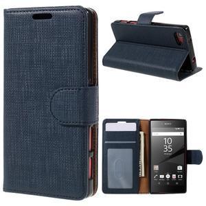 Grid Peňaženkové puzdro pre mobil Sony Xperia Z5 Compact - tmavomodré - 1