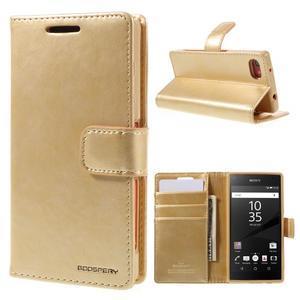 Bluemoon PU kožené puzdro pre Sony Xperia Z5 Compact - zlaté - 1