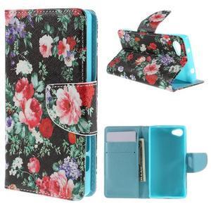 Wally Peňaženkové puzdro pre Sony Xperia Z5 Compact - kvetiny - 1