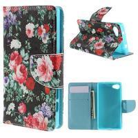Wally peněženkové pouzdro na Sony Xperia Z5 Compact - květiny - 1/7