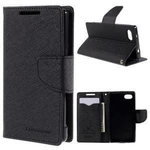 Fancy PU kožené puzdro pre Sony Xperia Z5 Compact - čierne - 1