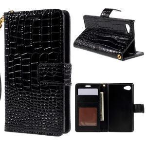 Croco Peňaženkové puzdro pre Sony Xperia Z5 Compact - čierne - 1