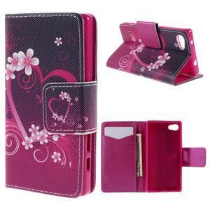 Diary Peňaženkové puzdro pre Sony Xperia Z5 Compact - srdce - 1