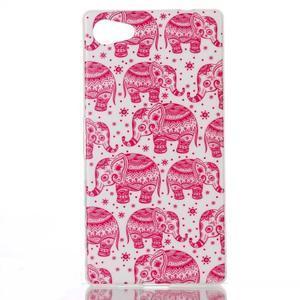Sally gélový obal pre Sony Xperia Z5 Compact - ružoví slony - 1