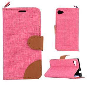 Cloth Peňaženkové puzdro pre mobil Sony Xperia Z5 Compact - ružové - 1