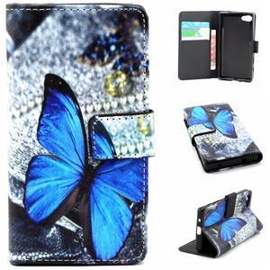 Peněženkové pouzdro na mobil Sony Xperia Z5 Compact - modý motýl - 1
