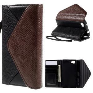 Stylové peněženkové pouzdro na Sony Xperia Z5 Compact - černé/hnědé - 1