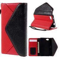 Stylové peněženkové pouzdro na Sony Xperia Z5 Compact - červené - 1/7