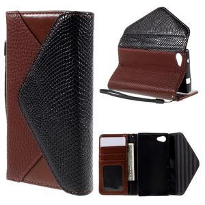 Štýlové Peňaženkové puzdro pre Sony Xperia Z5 Compact - hnedé/čierne - 1