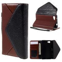 Štýlové Peňaženkové puzdro pre Sony Xperia Z5 Compact - hnedé/čierne - 1/7