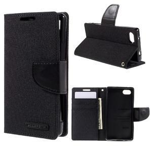 Canvas PU kožené/textilné puzdro pre Sony Xperia Z5 Compact - čierne - 1