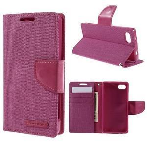 Canvas PU kožené/textilní pouzdro na Sony Xperia Z5 Compact - rose - 1