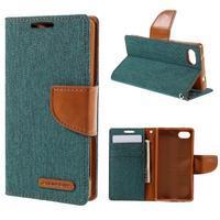 Canvas PU kožené/textilné puzdro pre Sony Xperia Z5 Compact - zelené - 1/7