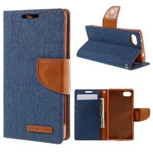 Canvas PU kožené/textilné puzdro pre Sony Xperia Z5 Compact - modré - 1