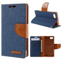 Canvas PU kožené/textilné puzdro pre Sony Xperia Z5 Compact - modré - 1/7