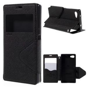 Puzdro s okienkom na Sony Xperia Z5 Compact - čierne - 1