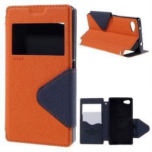 Puzdro s okienkom na Sony Xperia Z5 Compact - oranžové - 1