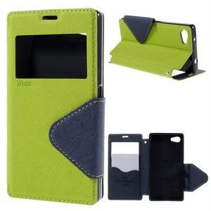 Puzdro s okienkom na Sony Xperia Z5 Compact - zelené - 1