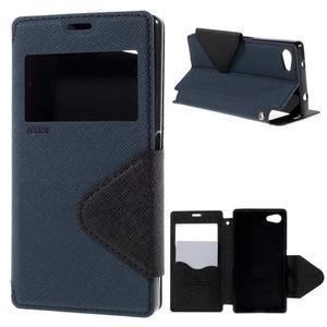 Puzdro s okýnkem na Sony Xperia Z5 Compact - tmavěmodré - 1