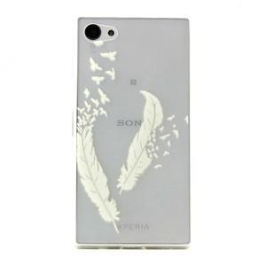 transparentné gélový obal pre Sony Xperia Z5 Compact - vtáčie pierka - 1