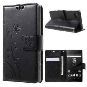 Butterfly Peňaženkové puzdro pre Sony Xperia Z5 Compact - čierne - 1