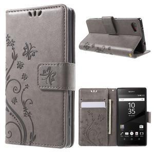 Butterfly Peňaženkové puzdro pre Sony Xperia Z5 Compact - sivé - 1