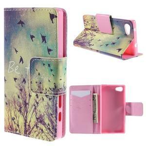 Diary Peňaženkové puzdro pre Sony Xperia Z5 Compact - vtáčiky - 1