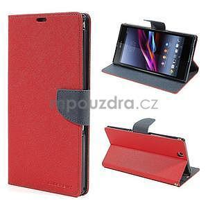 Peněženkové PU kožené pouzdro na Sony Z Ultra - červené - 1