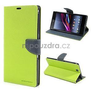 Peňaženkové PU kožené puzdro pre Sony Z Ultra - zelené - 1
