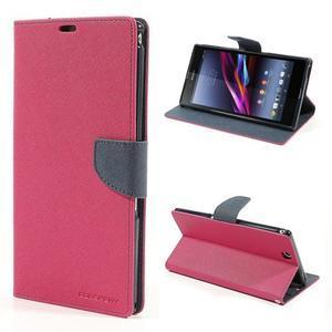 Peňaženkové PU kožené puzdro pre Sony Z Ultra - rose - 1
