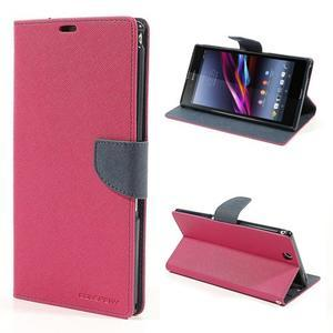 Peněženkové PU kožené pouzdro na Sony Z Ultra - rose - 1