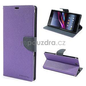 Peňaženkové PU kožené puzdro pre Sony Z Ultra - fialové - 1