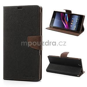Peněženkové PU kožené pouzdro na Sony Z Ultra - černé/hnědé - 1