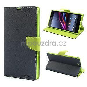 Peňaženkové PU kožené puzdro pre Sony Z Ultra - tmavomodré - 1