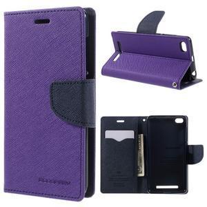 Diary PU kožené pouzdro na mobil Xiaomi Redmi 3 - fialové - 1