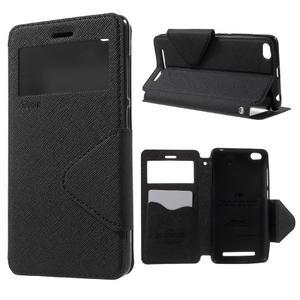 Diary view peňaženkové puzdro pre Xiaomi Redmi 3 - čierne - 1