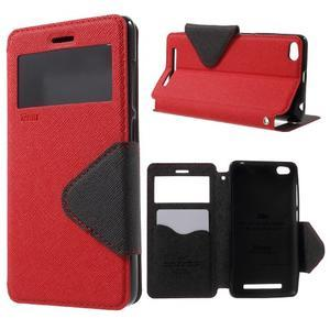 Diary view peňaženkové puzdro pre Xiaomi Redmi 3 - červené - 1