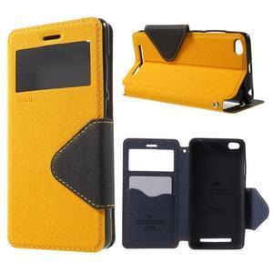 Diary view peněženkové pouzdro na Xiaomi Redmi 3 - žluté - 1