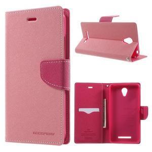 Goos PU kožené pouzdro na Xiaomi Redmi Note 2 - růžové - 1