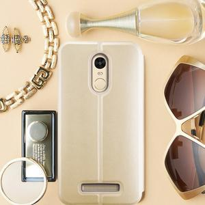 Vintage PU kožené pouzdro na mobil Xiaomi Redmi Note 3 - zlaté - 1