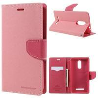 Wallet PU kožené pouzdra na Xiaomi Redmi Note 3 - růžové - 1/7