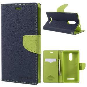 Wallet PU kožené puzdra na Xiaomi Redmi Note 3 - tmavomodré - 1