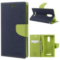 Wallet PU kožené puzdra na Xiaomi Redmi Note 3 - tmavomodré - 1/7